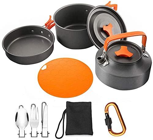 ZFQZKK Kit de utensilios de cocina para acampar al aire libre Aluminio Ligero Camping Pot Pan Cocinar Sistema de cocina para caminatas para acampar, kit de utensilios de cocina con tetera Pan Pan para