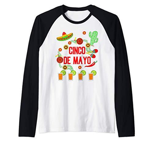 Feliz Cinco de Mayo Sombrero Pimientos Fiesta Tequila Camiseta Manga Raglan