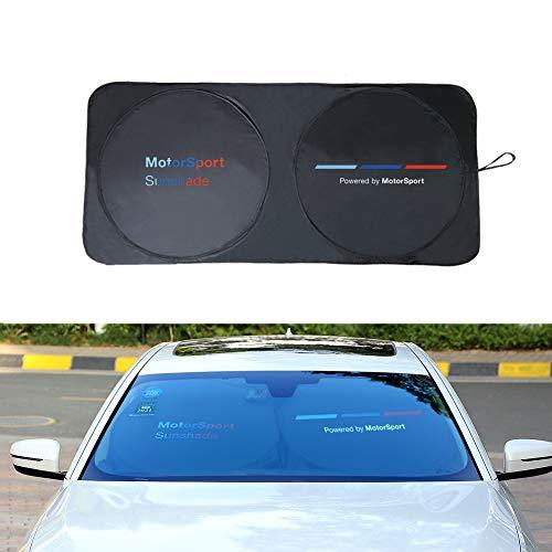 YIKA - Parasol para parabrisas de coche con revestimiento de teflón, mejor efecto de sombreado que el paño recubierto de plata, para BMW, Mercedes-Benz, Cadillac, Public, Audi (negro)