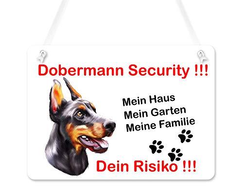 Warnschilder für Hunde, Türschild Dobermann, UV-geschützte Eingangsschilder, Wetterfest, Größe 20x28cm, wird mit einem Seil zum Aufhängen geliefert, Dobermann Hund