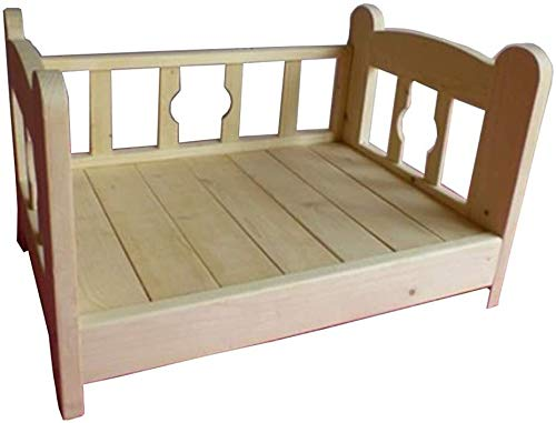 UIZSDIUZ Haustierbett Massivholzbett-Haustier-Bett mit Zaun, Große Welpe Kennel Betten for kleinen Hund Doggy, Katzenbett (Size : XL(L100×W65×H43cm))