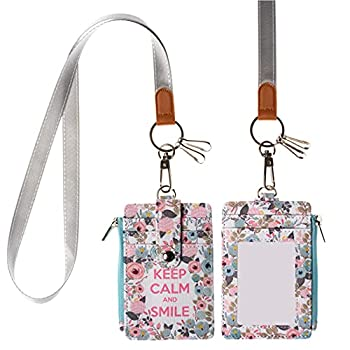 Lanyard ID Badge Holder Case PU Leather Credit Card Wallet with 1 ID Window 2 Card Slots 1 Zipper Pocket 2 Key Chains and A Detachable Neck Strap for Women Teen Kids Girls Office Zipper Peach
