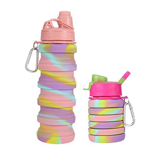 Smilcloud 2 botellas de agua plegables de 500 ml, de silicona de calidad alimentaria, botella de agua plegable para festivales, exteriores, deportes, fitness, senderismo, camping