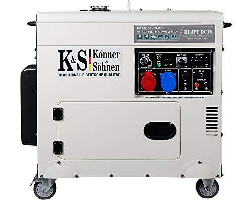Könner & Söhnen KS 9200HDES-1/3 ATSR - Stromerzeuger 18PS, 4-Takt Dieselmotor mit E-Start, Vorwärmer, Automatischer Spannungsregler, Lärmarm, 7500/6400 Watt, 1x16A (400V)/ 1x32A (230V)
