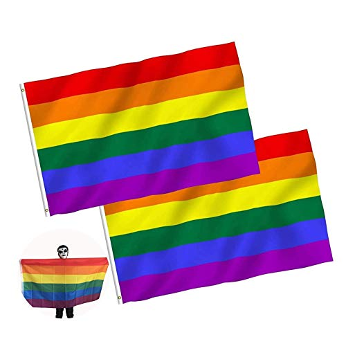 JZZJ Flaggen LGBT, Motiv: Regenbogen, für die Schwulenparade, 150 x 90 cm, 2 Stück