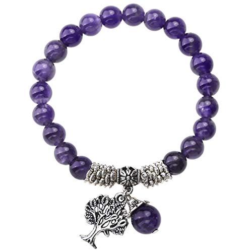 Purple Amethyst Tree of Life Lucky Charm Stretch Bracelet by Jovivi