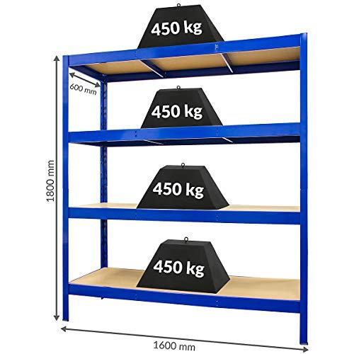 Certeo Stabiles Schwerlastregal - HxBxT 180 x 160 x 60cm | 450 kg pro Fachboden
