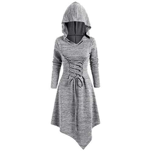 GreatestPAK Asymmetrisch Kapuzenkleid Damen Lässig Spitze Oberteil Pullover,Grau,Etiketten:S(Büste:86cm)