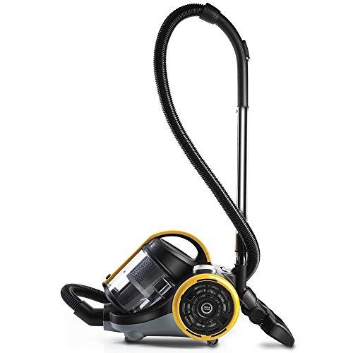 Polti Forzaspira C115_Plus Aspirador cicónico sin bolsa, 2 litros capacidad depósito de recogida, bajo consumo, 80 Decibelios, Plastic, Negro/Amarillo