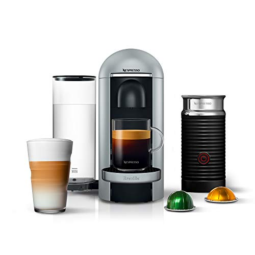Nespresso VertuoPlus Deluxe Coffee and Espresso Machine Bundle with Aeroccino Milk Frother by Breville, Silver -  608032-BNV450SIL1BUC1