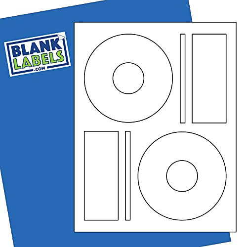 CD / DVD Labels from Blank Labels - Memorex Large Core Compatible - Permanent White Matte - Inkjet and Laser Guaranteed - Easy to Peel - Made in USA - 1000 Sheets - 2000 Disc Labels