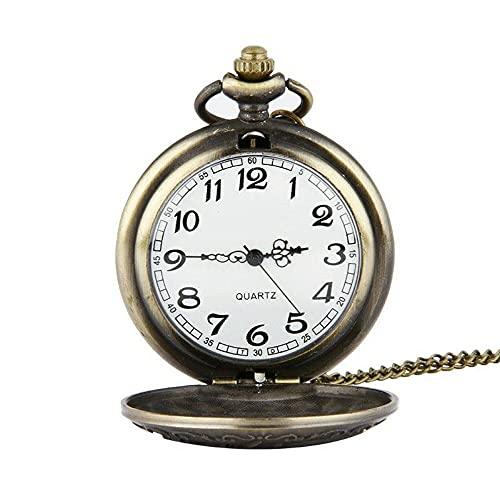 KX-YF Reloj De Bolsillo Reloj Retro Bronce Classic Dragon Pattern Cadena De Cuarzo Reloj De Bolsillo Adecuado para Regalos Y Recuerdos.