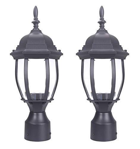 Yeuloum Outdoor Post Light Pole Lantern Lighting Fixture with One E26 Base Max 100W, Aluminum Housing Plus Glass, 2-Pack (Black Finish)