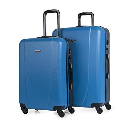 ITACA - Juego Maletas de Viaje Rígidas 4 Ruedas Trolley 65/75 cm ABS. Cómodas y Ligeras. Mediana y Grande XL. Estudiante y Profesional. Calidad y Precio. Bonitas. 71116, Color Azul-Antracita