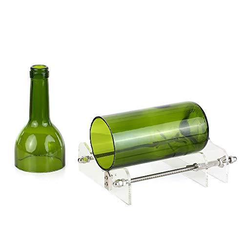 mewmewcat Glas Flaschenschneider Acryl DIY Flasche Schneidwerkzeug mit Sandpapier für Wein Bierflaschen Mason Gläser