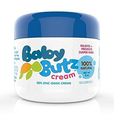 Baby Butz Diaper Rash Cream, Natural Zinc Oxide Barrier Paste, Prevents, Relieves and Treats Diaper Rash, 8 oz