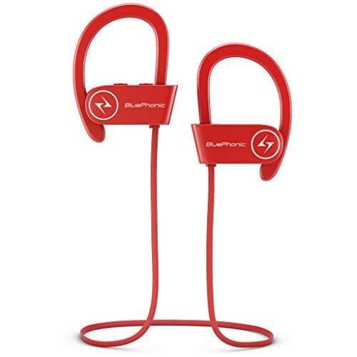 Bluephonic Wireless Sport Bluetooth Headphones, Hd Beats Sound Quality, Sweat Proof Stable Fit in Ear Workout Earbuds, Ergonomic Running Earphones, Noise Cancelling Microphone (Red)