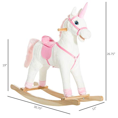 For Sale! SETMAG Warm Nice Chic Durable Kids Plush Rocking Horse Unicorn Ride on Toy Toddler Rocker ...