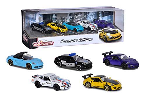 Majorette Porsche 5er Geschenkeset, 5 Fahrzeuge, Spielzeugautos mit Federung, Modelle: Porsche 911 GT3 RS, Porsche 718 Boxster, Porsche Panamera, Porsche 934, inkl. 2 exklusive Modelle, 7,5 cm