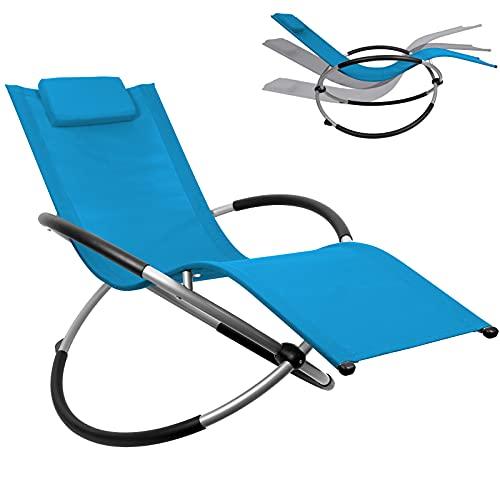 DMS® Relaxliege Liegestuhl   Gartenliege   Gartenstuhl   Klappstuhl faltbar   Schwungliege   Schaukelsessel   ergonomische Relaxsessel   wetterfest   180 kg Belastung Camping Liege (Dunkelblau)