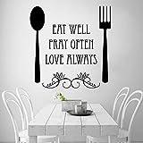 Ajcwhml Eat Well Spoon and Fork Etiqueta de la Pared del Restaurante Occidental para la decoración del hogar de la Cocina Etiqueta de Vinilo Cocina 67x68cm