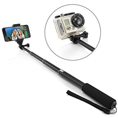 Aluminium Selfie Stick für GoPro Hero Session Hero 4 Hero 3 +/3/2, Sony Action Cam und Smartphone