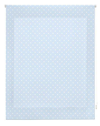 Blindecor  -  Estor Enrollable, Tela , Azul con motas blancas, 130 x 180 cm