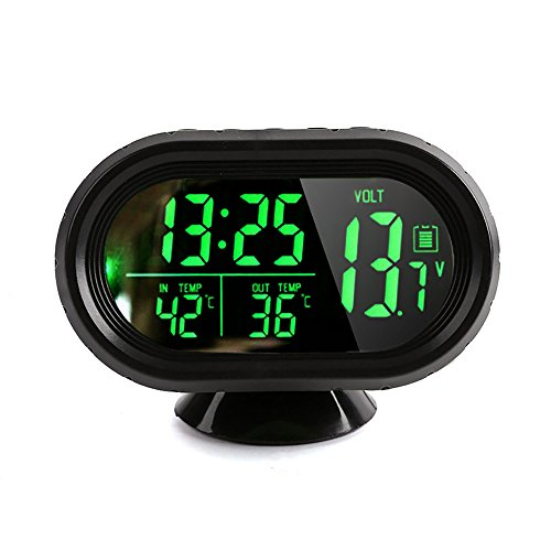 Denshine DC 12V Reloj Digital con Termómetro LCD Iluminación Pantalla de Voltaje del Medidor de Temperatura para Coche