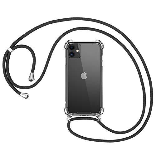 omitium Funda con Cuerda Compatible con iPhone 11, Carcasa Transparente iPhone 11 Correa Cover con Correa Colgante Ajustable Case [Moda y Practico] TPU Carcasa Cuerda iPhone 11
