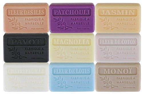 Lot de 9 savons de Marseille parfums fleurs...
