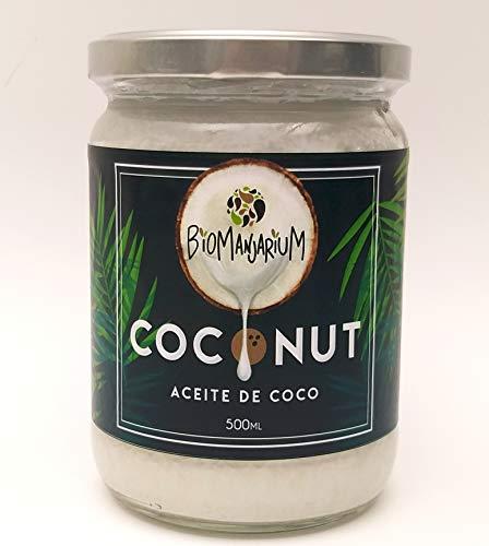 BIOMANJARIUM Aceite de Coco Virgen Extra Orgánico, Ecológico y 100{92991f617dd8b2b3d1096663e810ce329b18f038f6ad4c0e4f9ef5bea9562b74} Natural, ideal para el cabello, piel y blanquear dientes. Coconut Oil. 500 ml.