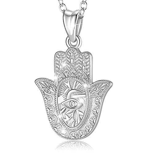 INFUSEU Fatimas Hand Kette, Hamsa Hand Sterling Silber 925 Halskette Evil Eye Anhänger Auge Edlen Schmuck Geschenk für Mama Freundin
