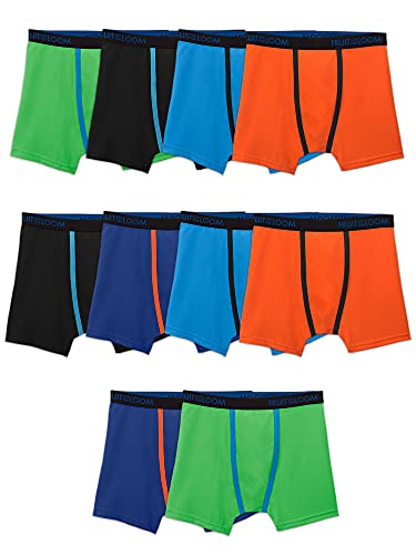 Fruit of the Loom Cooling Breathable Boxer Briefs, Boy-10 Pack-Micro Mesh, Small