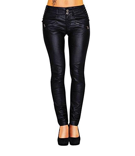 Danaest  Damen Bootcut Hose Leder-Optik Skinny (428), Schwarz , 42