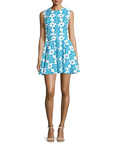 DVF Jeannie Cotton Fit & Flare Dress, Giant Leaf Floral Blue (12)