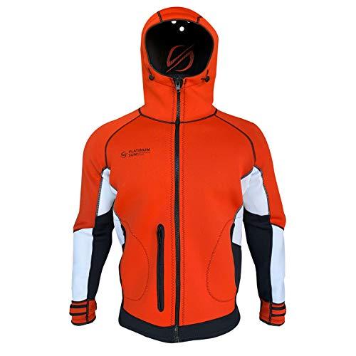 Unisex Pro Neoprenjacke Neoprenanzug Hoodie - Wasserdicht Wind Segeln Angeln Surf Jacken für Damen und Herren - Rot - Small