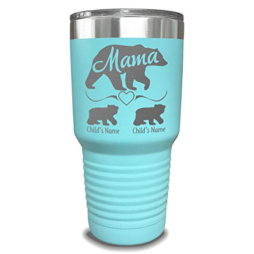 Mama Bear Personalized Tumbler - Laser Engraved, add up to 10 Cubs - Perfect Gift Idea for Moms or Mothers - Birthday Gifts for Women - Reusable Cup with Lid - Spill Resistant Travel Mug