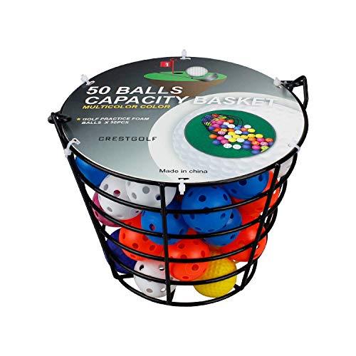 Crestgolf Golfbälle Lochplastik Übungsgolfbälle Airflow Hollow Golf Trainingsbälle Kinder Spielzeug Haustiere Bälle für Fun Indoor Outdoor, 40 mm, 12/50St (Ball/Basket)