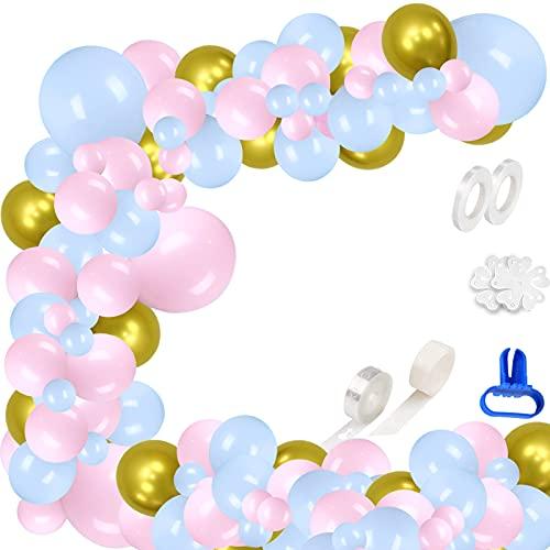 XINCHEN Globos Rosados 104 piezas Arco Globos Látex globos Azul/Rosa Kit Arco Guirnalda Macaron Globos Kit de Fiesta Colores Pastel para Cumpleaños de Niñas,Baby Shower, Boda