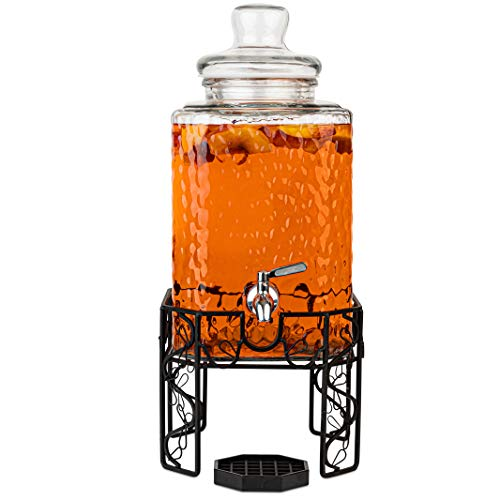 2.5 Gallon Glass Beverage Dispenser with Stainless Steel Spigot on Metal Stand and Drip Tray- Mason Drink Dispenser For Parties, Sun Tea, Iced Tea, Water or Kombucha