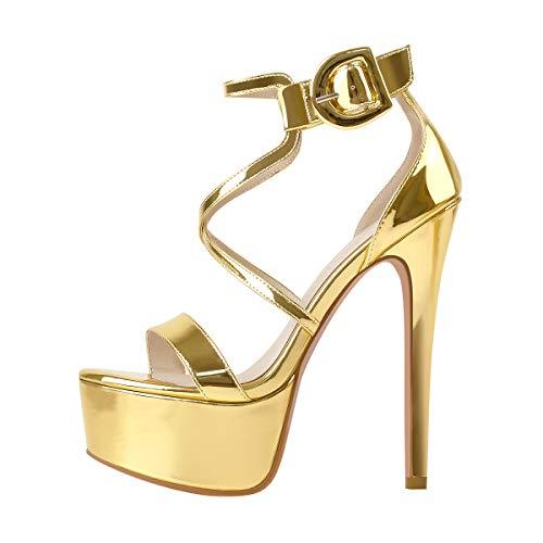 MissHeel Plateau Sandaletten 41 Gold Damen Riemen High Heels Sandaletten Sexy Stiletto Heels Riemchensandalen Glitzer Metallic Ankle Strap