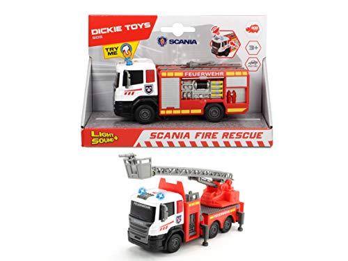 Dickie Toys 203712016 Scania Fire Rescue, 2-sort 203712016-Scania, Feuerwehrauto mit Freilauf, 2-Sortiert, Die-Cast-Kabine, 17 cm, Mehrfarbig