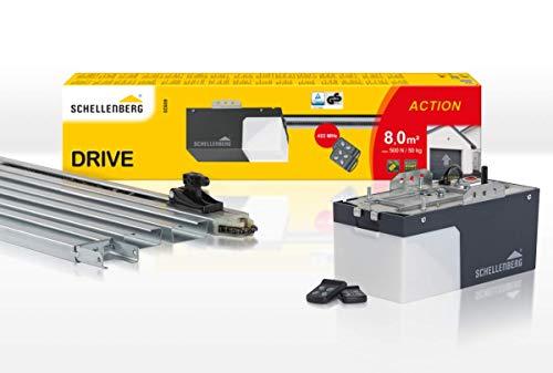Schellenberg 60920 Garagentorantrieb Drive Action mit 2X 433 MHz Handsender, max. Torfläche 8 m², automatische Endlageneinstellung