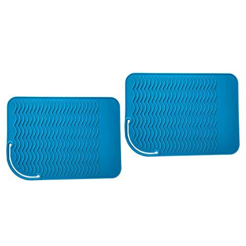 SDENSHI 2x Salon Fers à Friser Fers à Lisser Redresseur De Chaleur Tapis De Tapis En Silicone Bleu