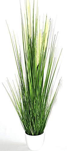 Liatris Floristik Grasbusch im Topf, Kunstgras, Dekogras, künstlicher Grasbüschel, Ziergras, Kunstpflanze naturgetreue Deko Farbe Grün (80 cm) hoch