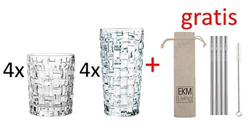 Nachtmann Noblesse 8er Set, 4 x Longdrinkgläser & 4X Whiskybecher + Gratis 4er Set EKM Living Edelstahl Trinkhalme