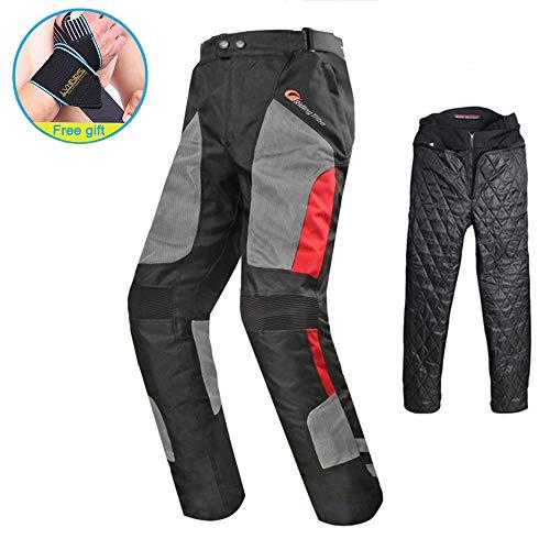 Lvnrids - Pantalones de motocicleta unisex con protección impermeable y forro extraíble