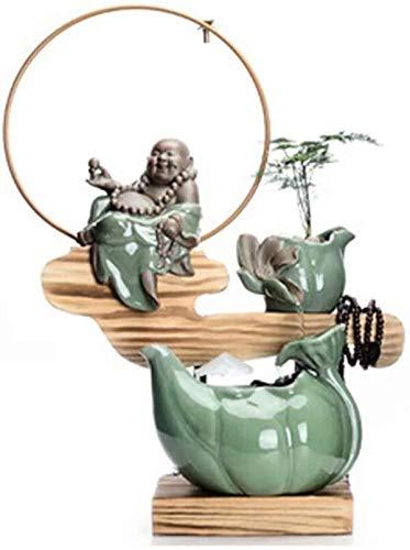 KEKEYANG Fuente de Escritorio Cubierta acuático Creativo Decorativo Fuente del Ministerio del Interior Suerte transportador de la decoración de salón 4 Estilos Fuente Interior (Color : C)
