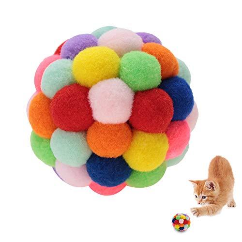 HEEPDD Katzen Spielzeug Bunte Ball, handgefertigter Plüsch Flummi mit Katzenminze und Bell Interaktives Spielzeug für Katzen Kätzchen Ausbildung(L)