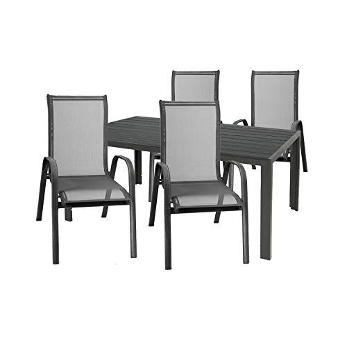 Mojawo Set di mobili da giardino di alta qualità, 5 pezzi, tavolo da giardino, 160 x 90 cm, grigio antracite, con 4 sedie impilabili in tessuto, nero/antracite